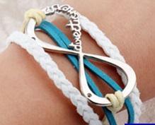 Vintage kožený náramek NEKONEČNO - 2 BARVY Barva: Bílo-modrý