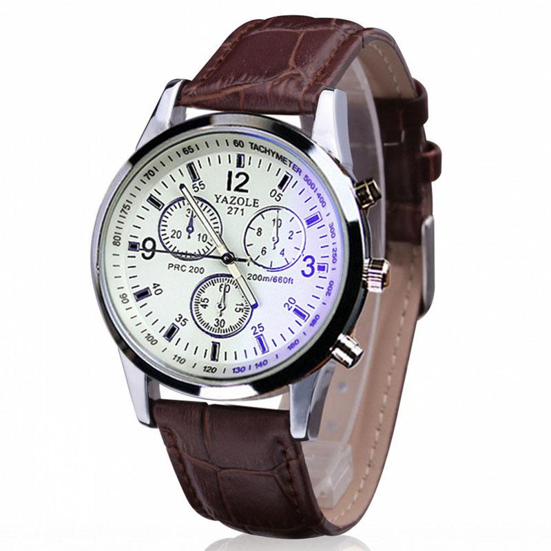 Pánské Kožené hodinky - 2 barvy Barva  Bílý cf63da1e4ac