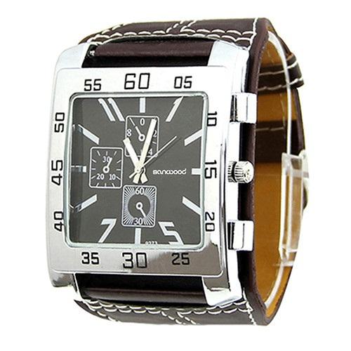 Hranaté hodinky prošívané unisex- 2 barvy Barva: Hnědý