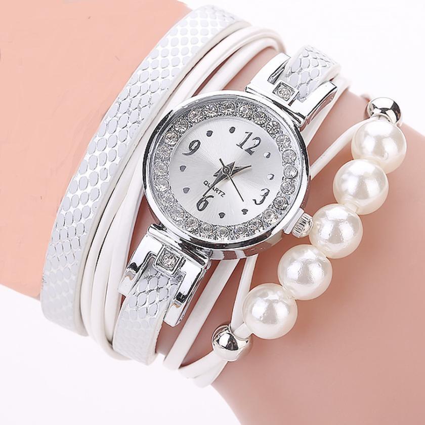 Dámské bílé perlové hodinky