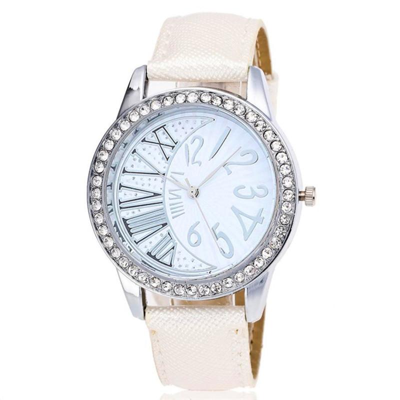 Dámské bílé sluneční hodinky s kamínky