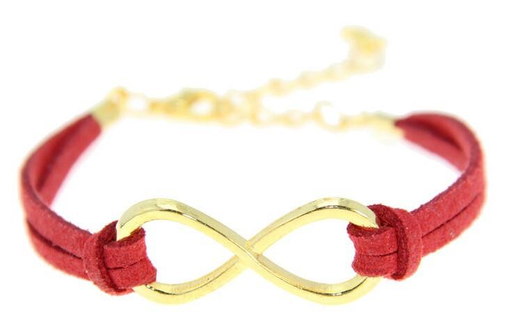Kožený náramek ZLATÉ NEKONEČNO - 3 BARVY Barva: Červený