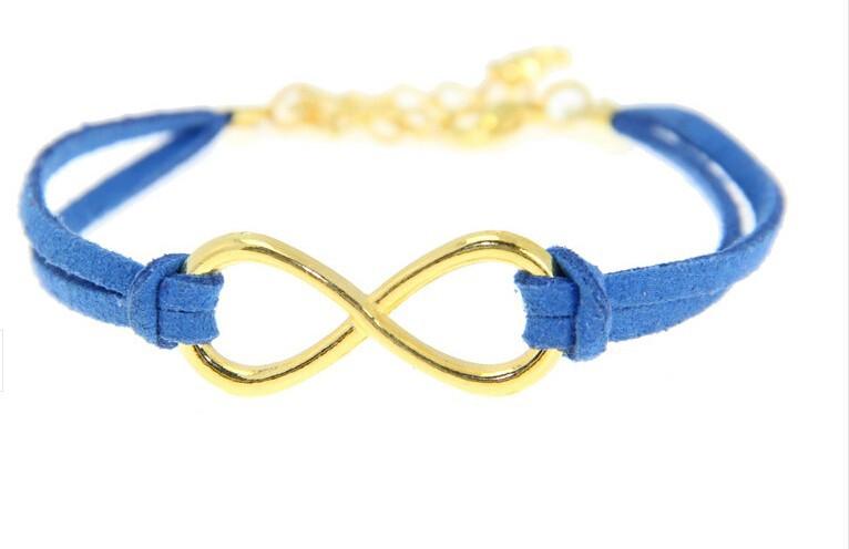 Kožený náramek ZLATÉ NEKONEČNO - 3 BARVY Barva: Modrý