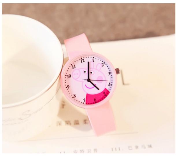 Dětské růžové hodinky Prasátko Peppa