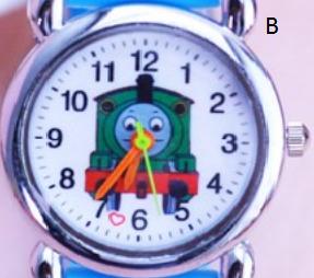 Dětské modré hodinky Mašinka Tomáš Motiv: Zelená mašinka
