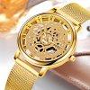 Extravagantní unisex kovové hodinky zlaté