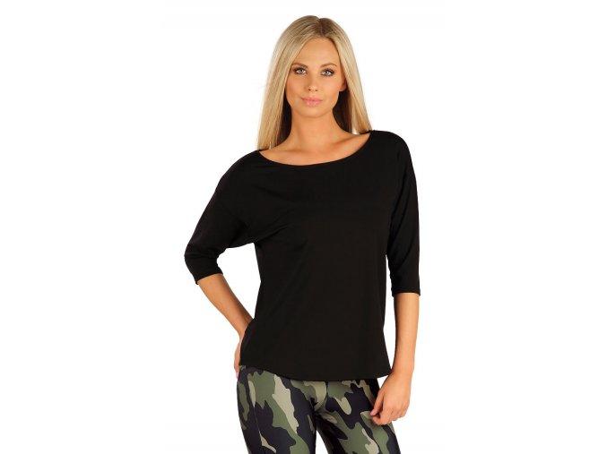 Černé tričko s 3 4 rukávem Litex 60468