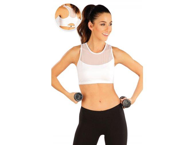Krátký fitness top se síťovinou bílý Litex 60461 Na Cvíčo