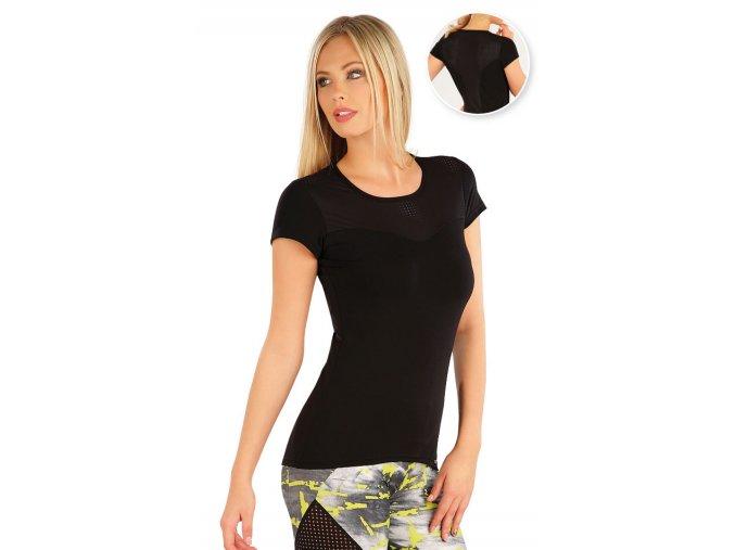 Černé fitness tričko s perforovaným materiálem Litex 58328 Na Cvíčo