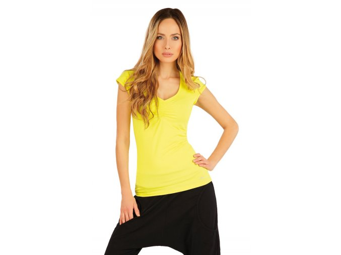 Žluté tričko dámské s řasením Litex 54241 Na Cvíčo