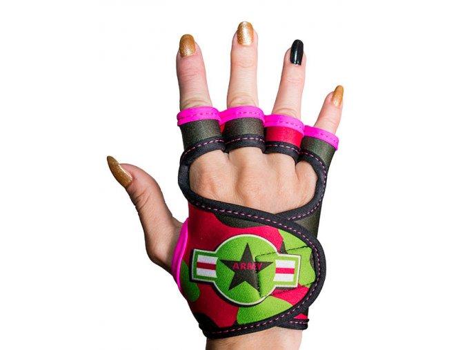 Sportovní rukavice dámské GlovBel Army Pink 1