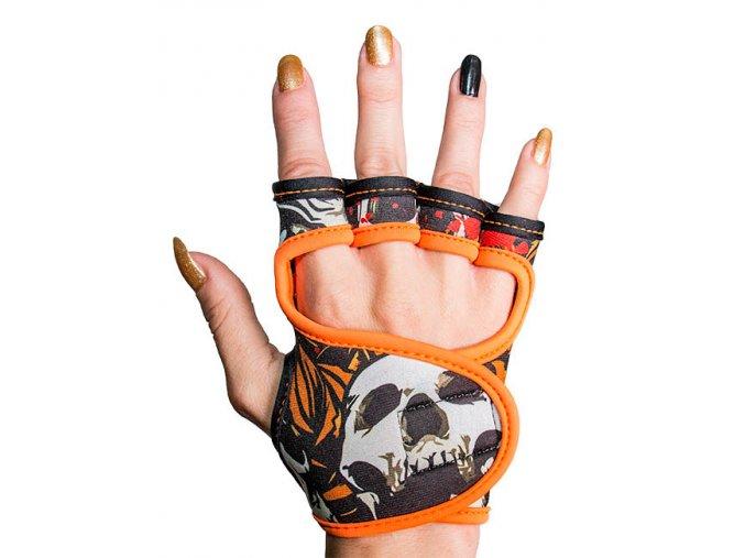 Fitness rukavice dámské s potiskem GlovBel Skulls 1