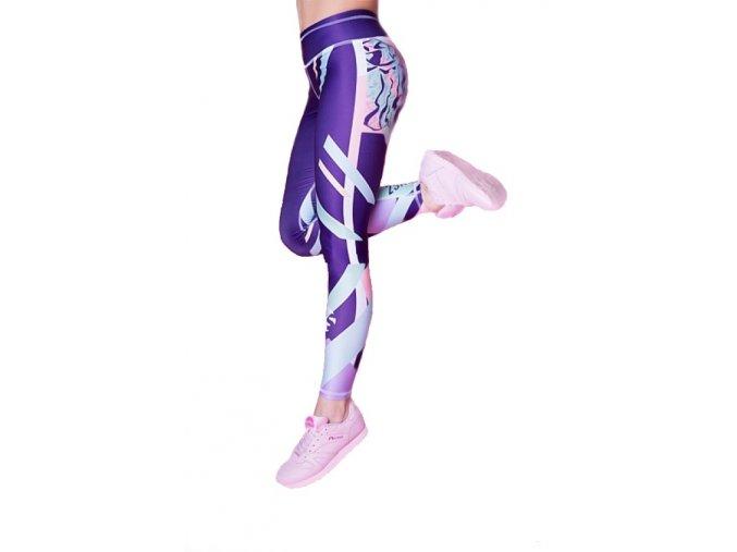 Barevné legíny go wild violet 2skin Na Cvíčo 3