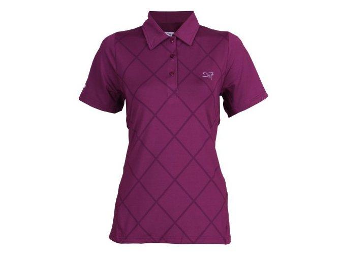 VÄLLINGE- dámské funkční triko s límečkem tmavě levandulová