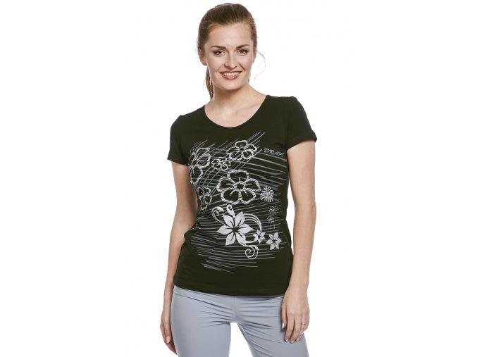 Černé bavlněné tričko s potiskem Draps 57 1