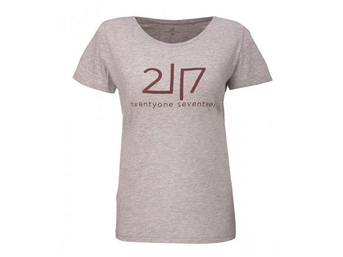 VIDA - dámské bavlněné triko s kr. rukávem - šedé melange