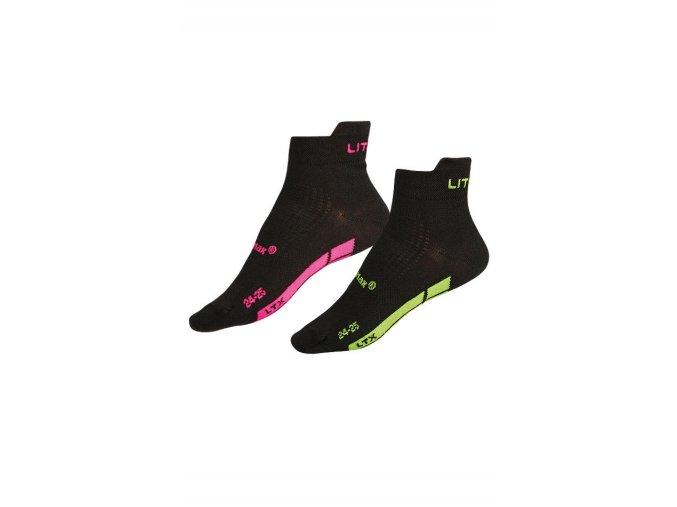 LITEX Sportovní ponožky CoolMax 99651 - černá - růžová