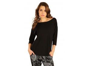 Černé triko s 3 4 rukávem lodičkovým výstřihem Litex 50122