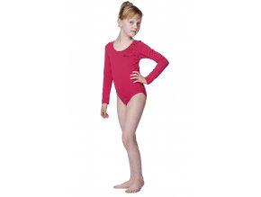 Růžový dívčí gymnastický dres Draps 525 s dlouhým rukávem 1