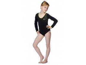 Černý dívčí gymnastický dres Draps 525 s dlouhými rukávy 1