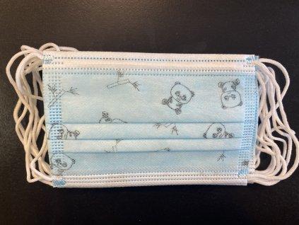Dětské roušky/ ústenky s gumičkou (10 ks), 3vrstvé, malé, modré s medvídky