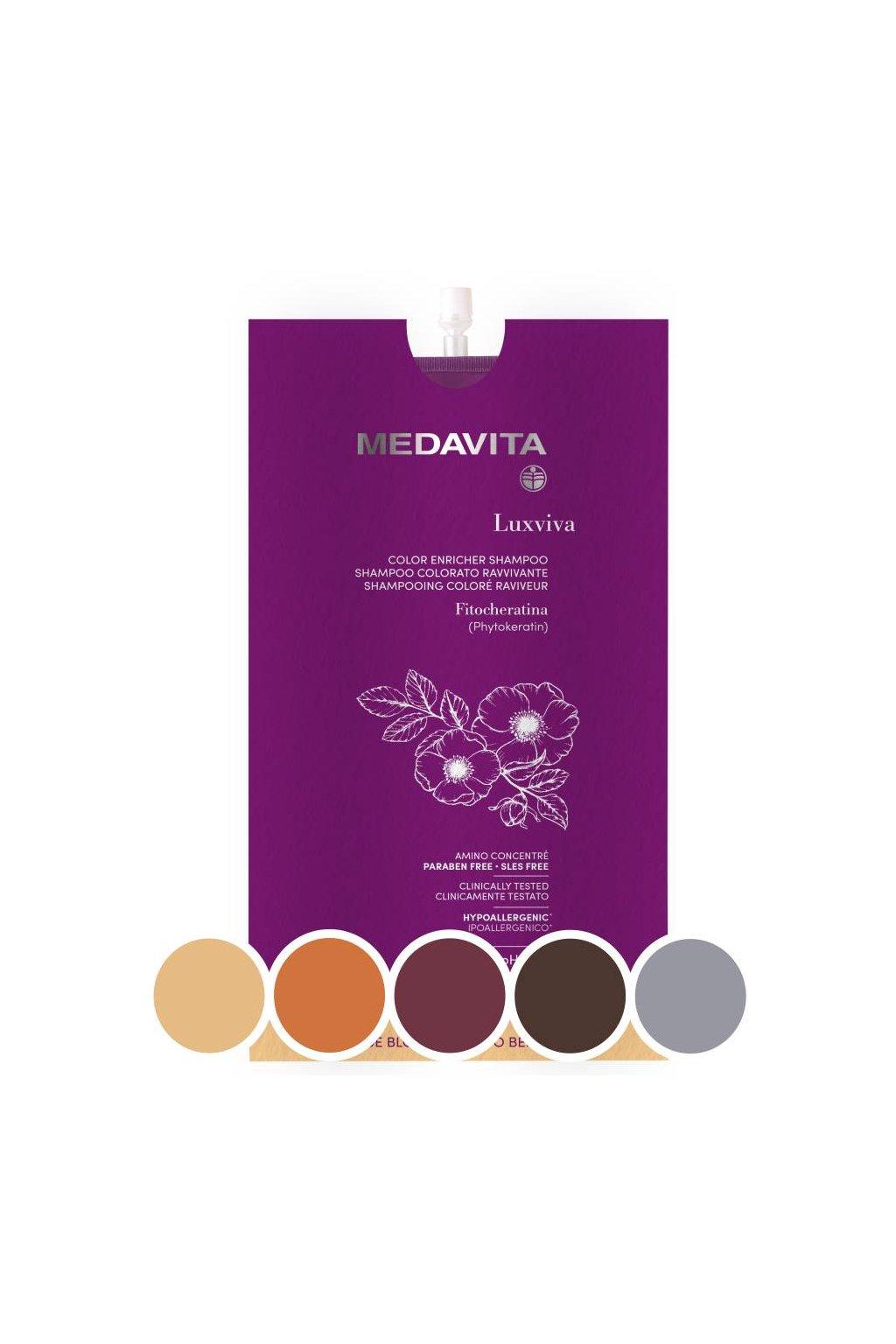 Medavita LUXVIVA Barvící šampon pro oživení barvy s filtry UVA/UVB 30ml