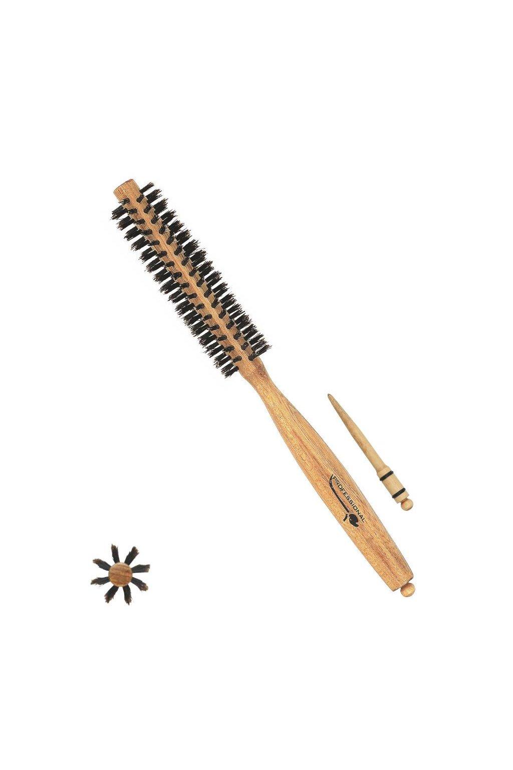 Kartáč Xanitalia jasanové dřevo, 100% kančí štětiny, styling špička, průměr 30mm