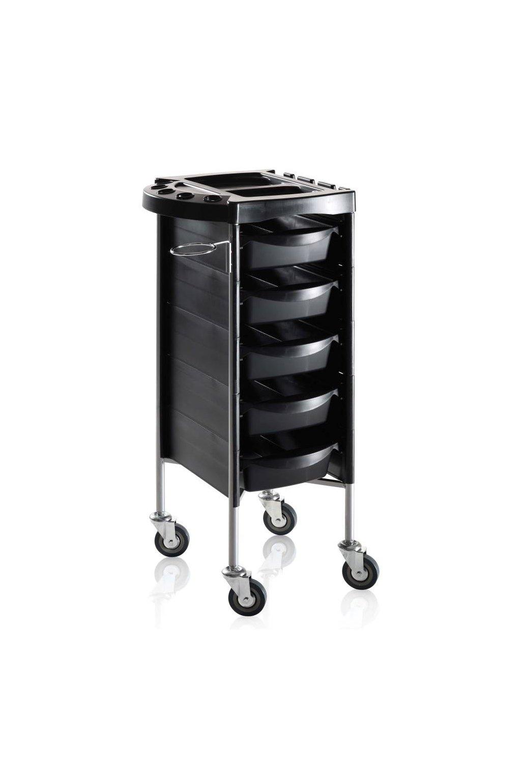 Kadeřnický vozík ACCADEMY 200, 5 šuplíků (Barva Černá)