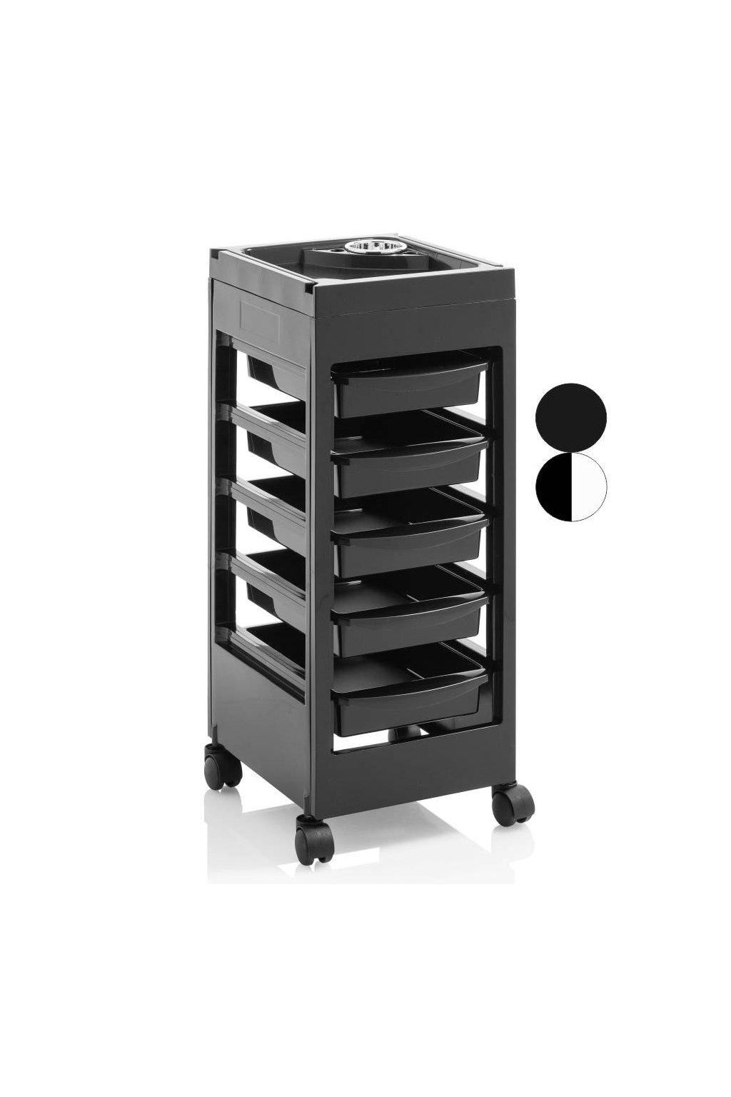 Kadeřnický vozík MILANO 5 šuplíků (Barva Černá)