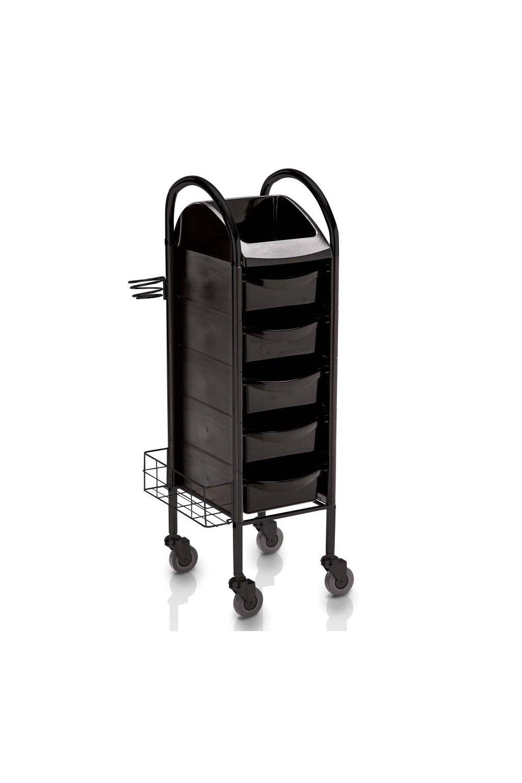 Kadeřnický vozík TECNO 100, 5 šuplíků (Barva Černá)