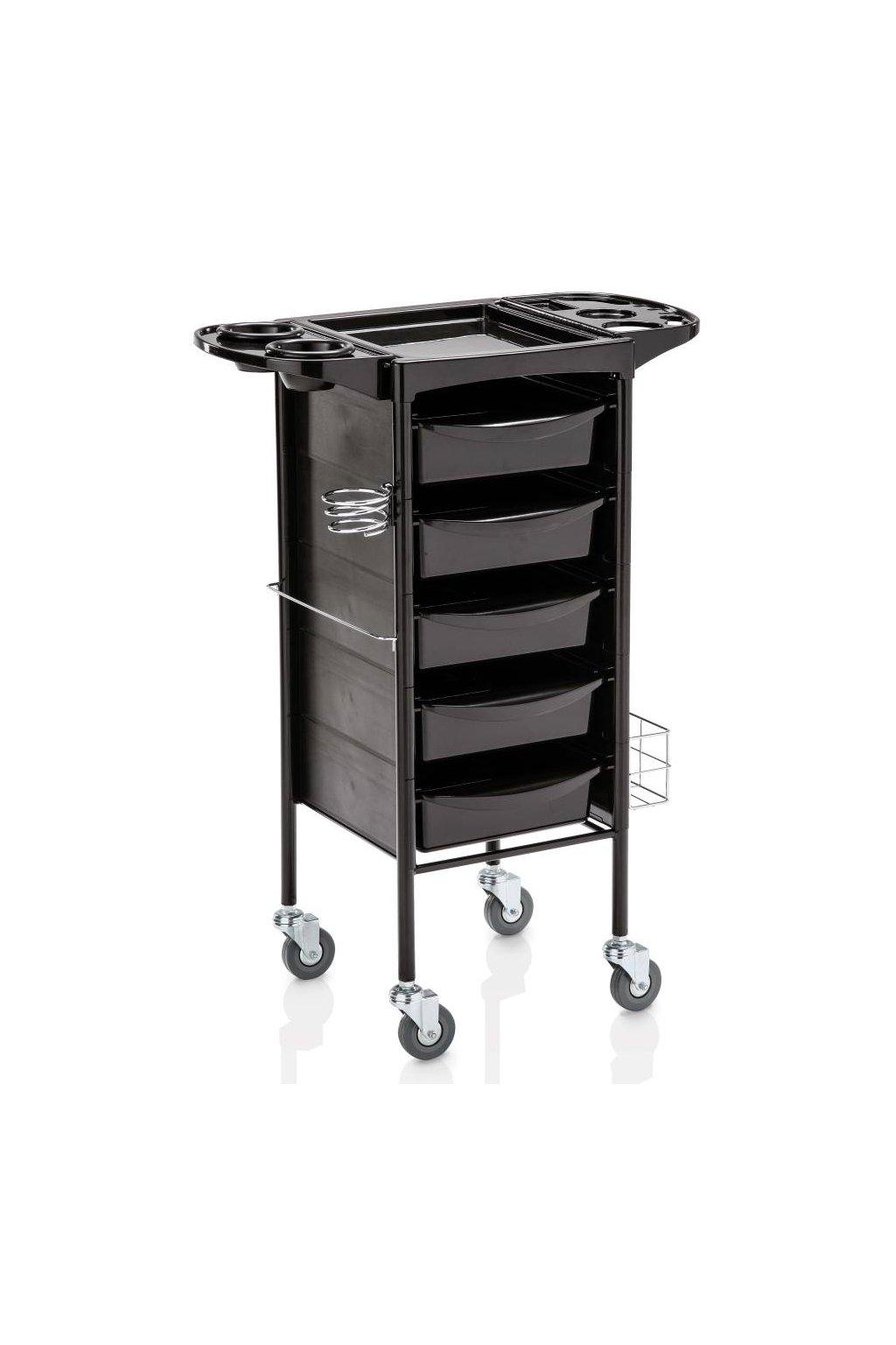 Kadeřnický vozík TECNO 200-5, 5 šuplíků (Barva Černá)