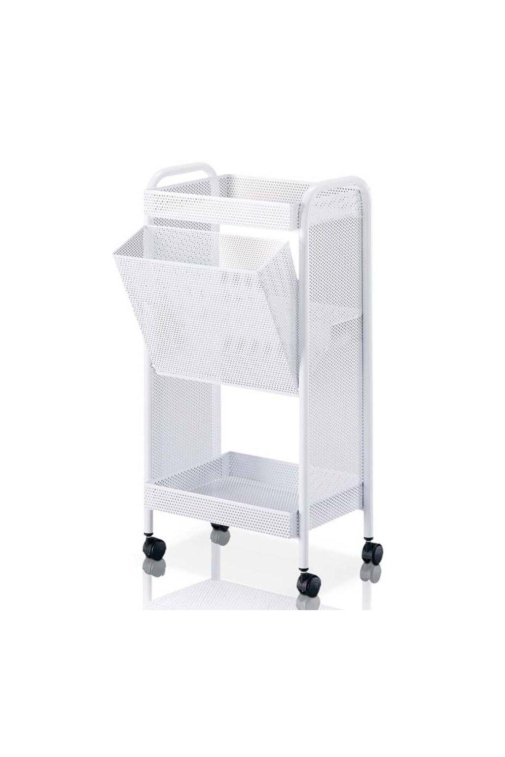 Kosmetický vozík DEPIL 2 police, koš (Barva Bílá)