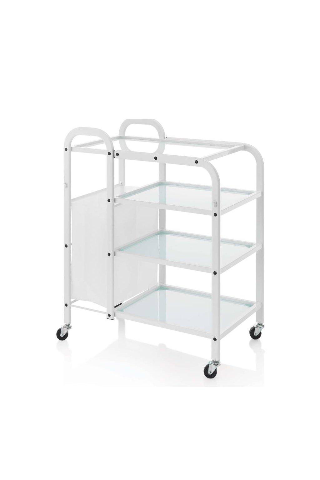 Kosmetický vozík TOP GLASS 3 police, hluboký koš (Barva Bílá)