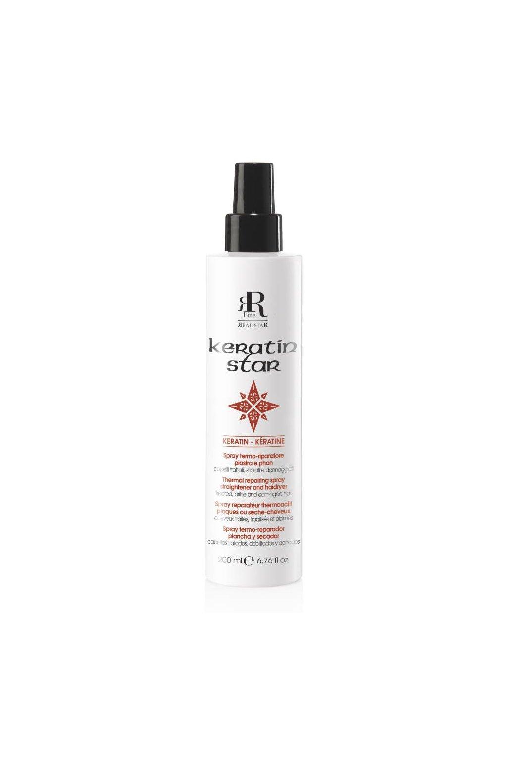 RR Line KERATIN STAR Termo-reparační sprej chrání vlasy před teplem a proti krepatění 200ml