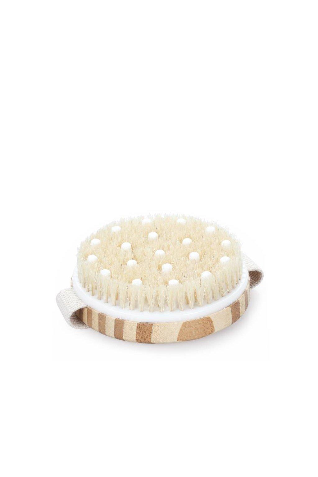 Spa beauty Masážní kartáč do ruky kulatý dřevěný, štětiny a masážní trny, pro suché i mokré kartáčování
