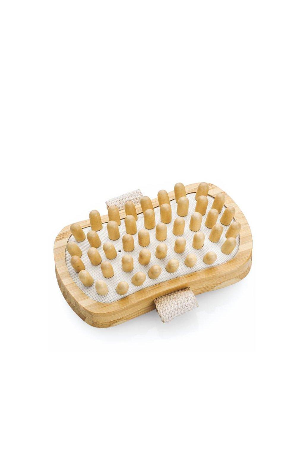 Spa beauty Masážní kartáč do ruky dřevěný obdélník, kulaté masážní trny, proti celulitidě