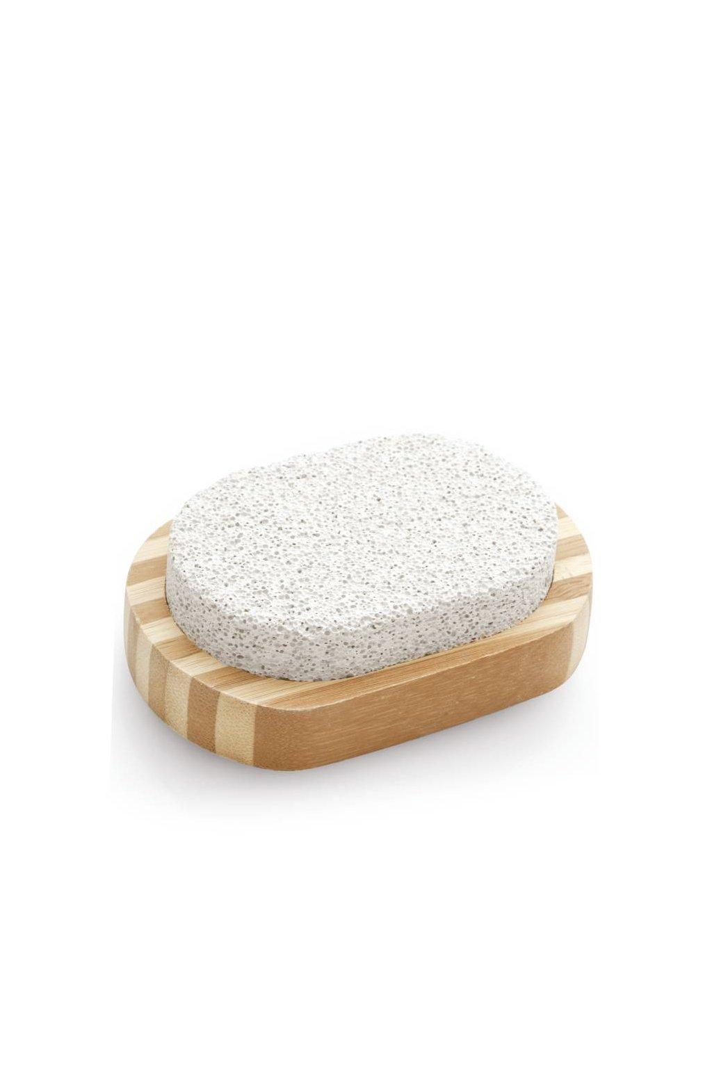 Spa beauty Oválný přírodní pemzový kámen ve dřevě, pokožku na nohou zanechává hladkou a hebkou