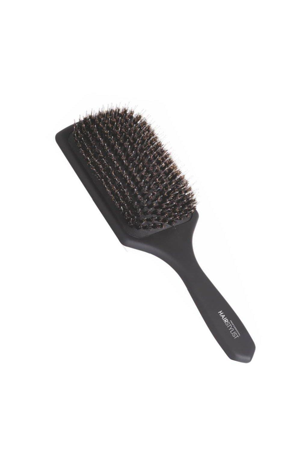 Kartáč Hair Stylist černý plochý široký, kančí štětiny +nylonové ostny 25x8x4cm