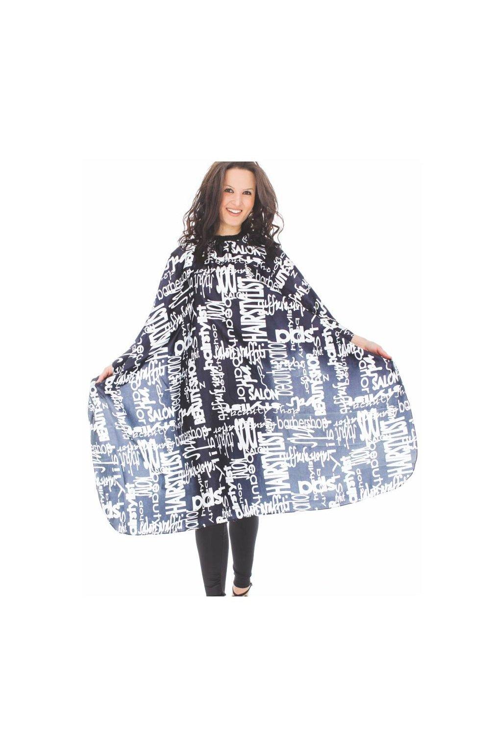 Kadeřnický plášť FANTASIA WRITTEN na stříhání vzor bílé texty na černém pozadí 125x145cm
