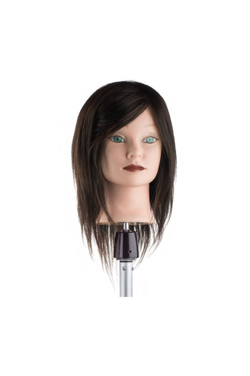 Cvičná hlava 100% lidské vlasy, barva č.4, délka vlasů 25/30cm