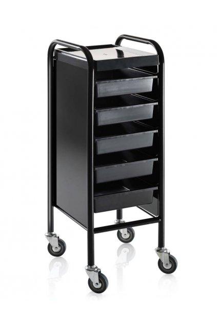 Kadeřnický vozík ACCADEMY 100, 5 šuplíků (Barva Černá)