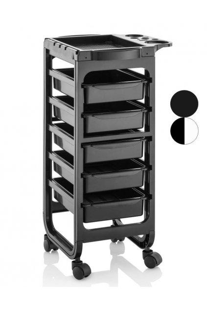 Kadeřnický vozík BARCELONA 5 šuplíků (Barva Černá)