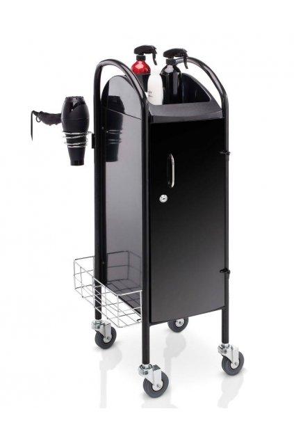 Kadeřnický vozík TECNO 100 CHIUSO, uzamykatelný, 5 šuplíků (Barva Černá)