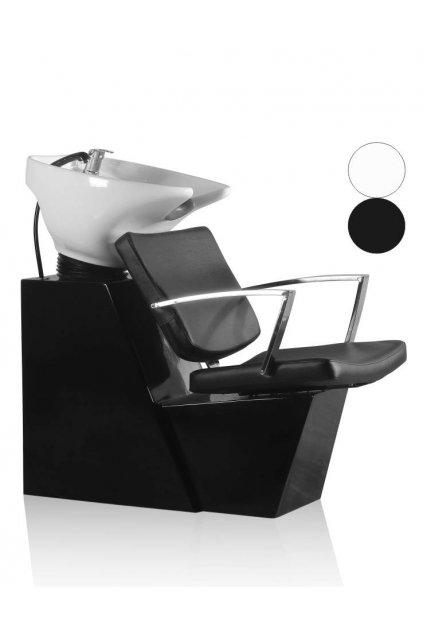 Mycí BOX ALPHA keramika bílá, koženka černá (Báze Světlá)