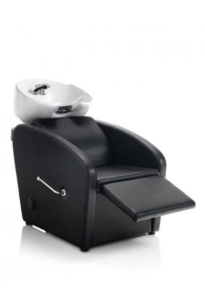 Mycí BOX CLASS CONFORT s podnožníkem keramika bílá, koženka černá (Báze Černá)