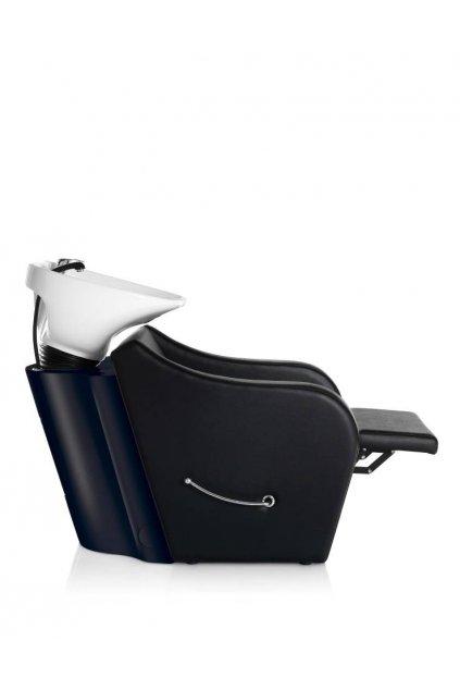 Mycí BOX OMEGA PLUS s podnožníkem keramika bílá, koženka černá (Báze Černá)