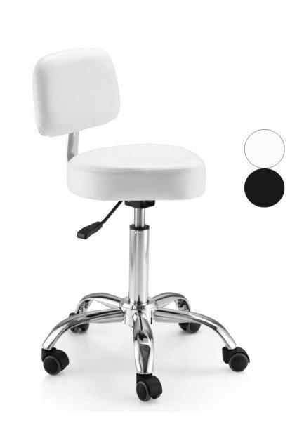 Taburet SAGOMATO lehce tvarovaný sedák s opěrou, chrom hvězdice (Barva Bílá)