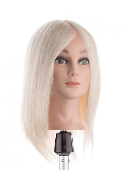 Cvičná hlava 100% angora, barva blond, délka vlasů 35cm
