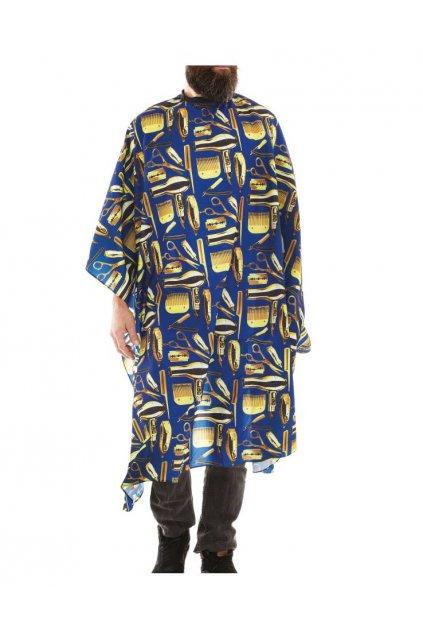 Kadeřnický plášť Barber TWIN BLUE na stříhání, modrý podklad, zlaté nástroje, vodoodpudivý polyester