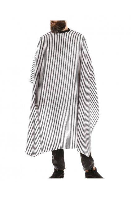 Kadeřnický plášť Barber CUSTOM na stříhání, černo bílé pruhy, vodoodpudivý polyester